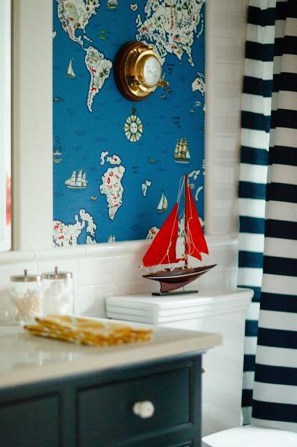 Nautical bathroom - map wallpaper - striped shower curtain