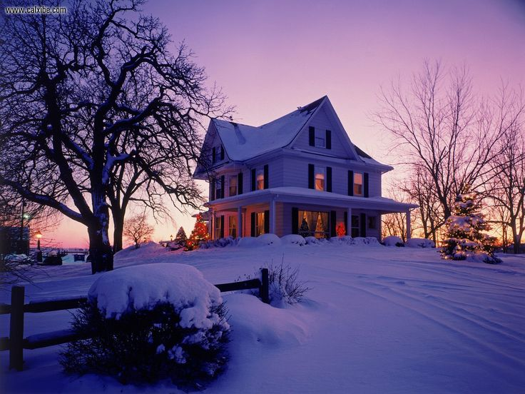 Old Victorian home during Christmas time in New England.
