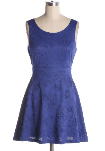 A pretty little party dress. Embossed fabric with A-line skirt and lace back detailing. 100% polyester Slightly stretchy Lined Hand wash cold; hang dry Indie, Retro, Party, Vintage, Plus Size, Convertible, Cocktail Dresses in Canada After Party Dress in Blue -