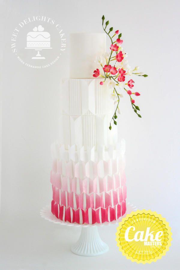Modern Geometric Cake by Sweet Delights Cakery - http://cakesdecor.com/cakes/250728-modern-geometric-cake