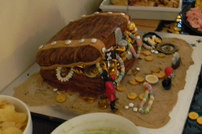 Treasure chest cake for Jack's 3rd Birthday party. Much nicer than the pic can show
