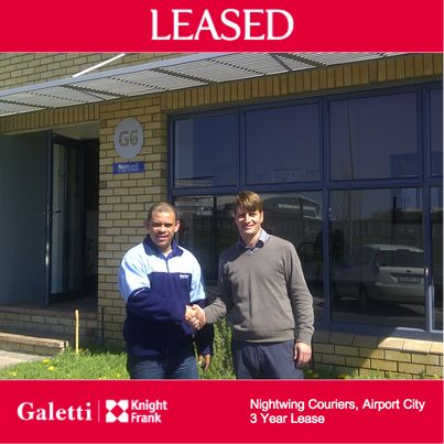 Kai has concluded another 3 year lease in Airport City, Cape Town - this time with Nightwing Couriers at CTX Business Park. The company has been based in the Airport City area for many years and has a national footprint, with offices in Cape Town, Johannesburg and Durban. You can visit their website at http://www.nightwing.co.za/ for more information. Well done Kai!