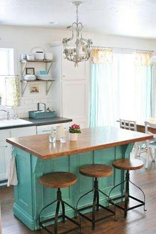 turquoise + wooden island