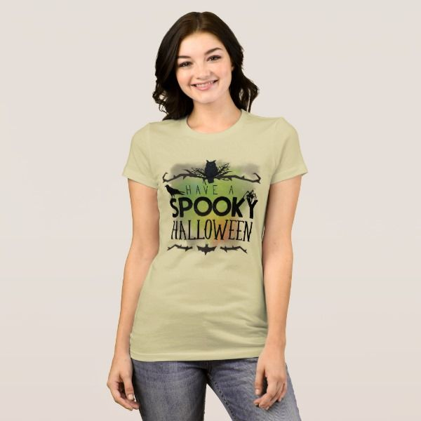 Spooky Halloween with Owl Crow Spider Bat T-Shirt #halloween #holiday #creepyhollow #women #womensclothing