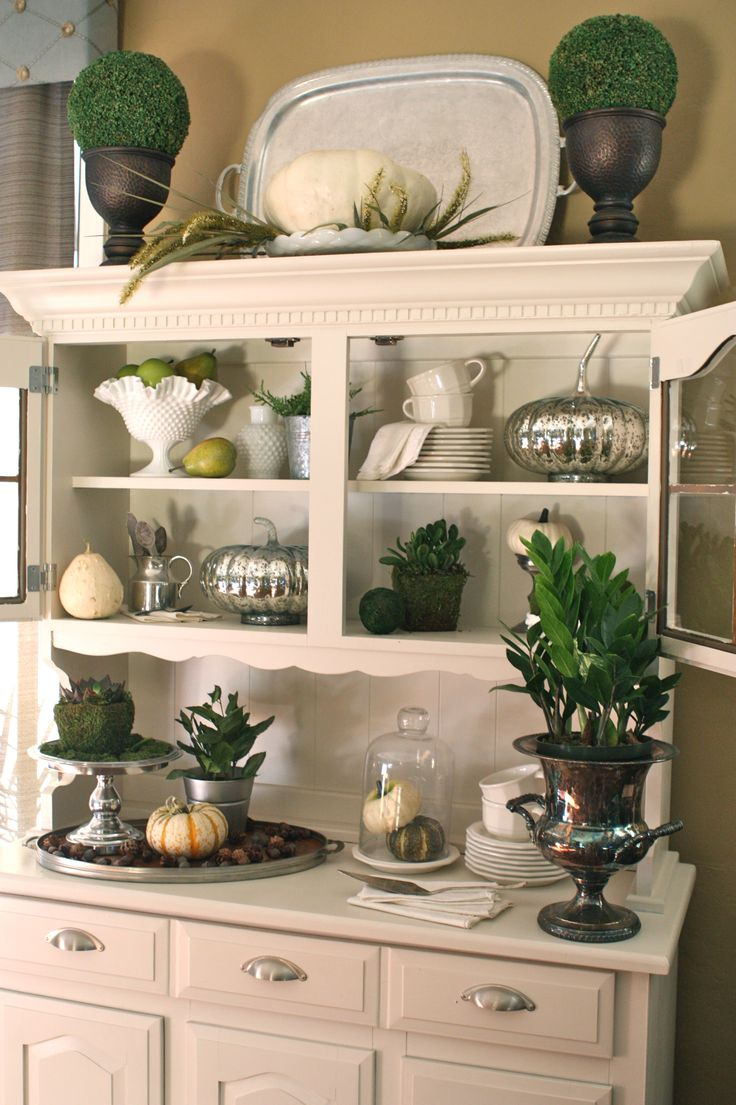 My Hutch From Goodwill Dressed In Milk Glass Silver And A Touch Of Green