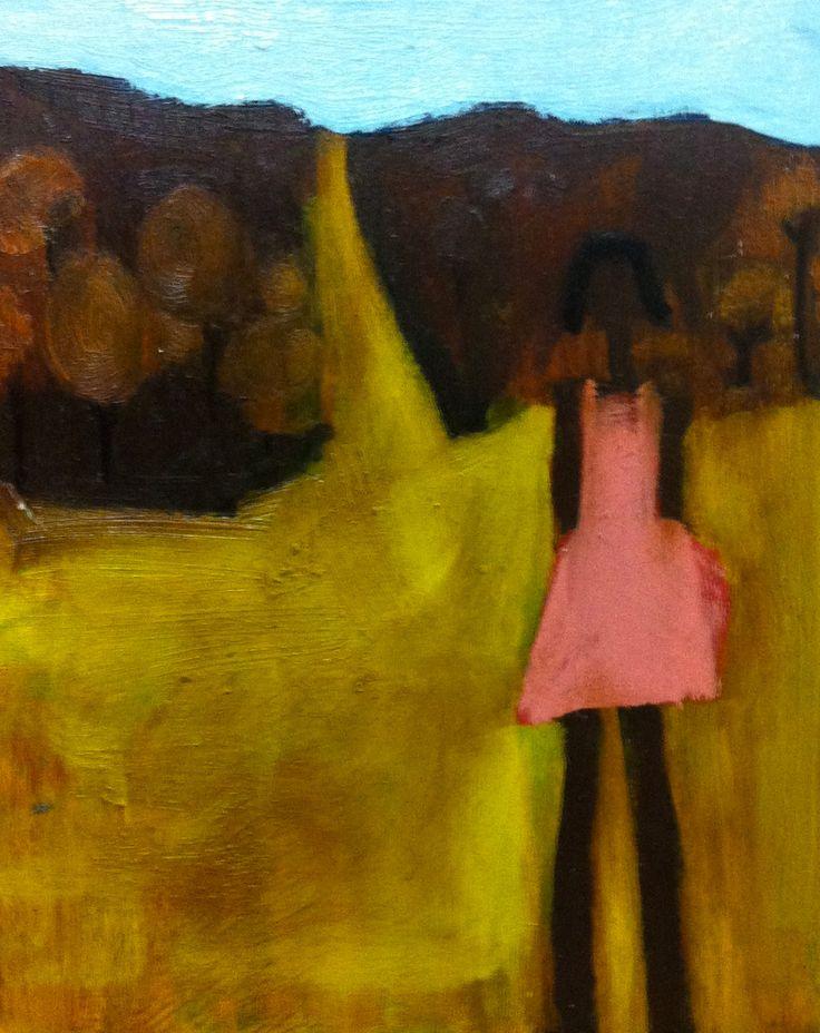 Aborigine girl in pink dress - oil on board - (24 x 19 cm) - sold