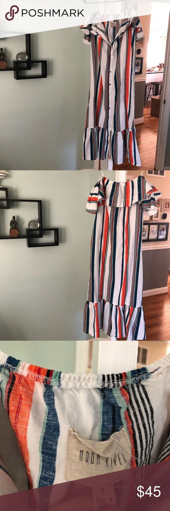 Moon River Lulu's Off The Shoulder Midi Dress NWOT Moon River Off The Shoulder Button Down Striped Dress Sz Medium, no flaws, non smoking home. Never been worn. Vertical striped dress, Button Down, off the shoulder, Ruffle bottom Hem, 55% Linen 40%. Offers considered.  *cant find the waist string/tie but you can replace with a belt Lulu's Dresses Midi