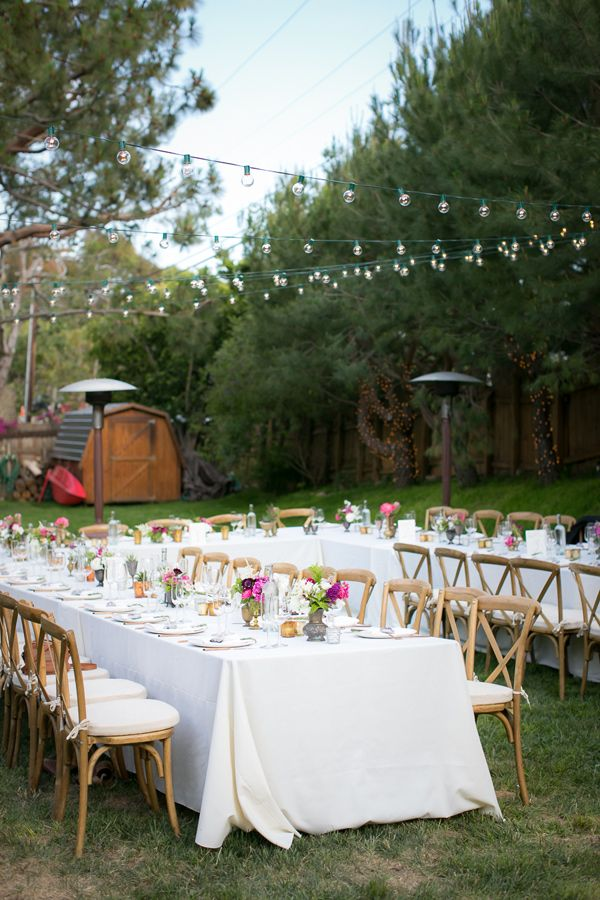 backyard wedding reception - photo by Zoom Theory http://ruffledblog.com/intimate-backyard-wedding-in-malibu