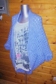 mijn eigen creatie - cardigan vest / shrug haken crochet gratis patroon