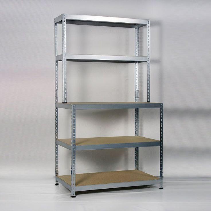 En praktisk oppbevaringshylle i galvanisert metall med arbeidsbenk.