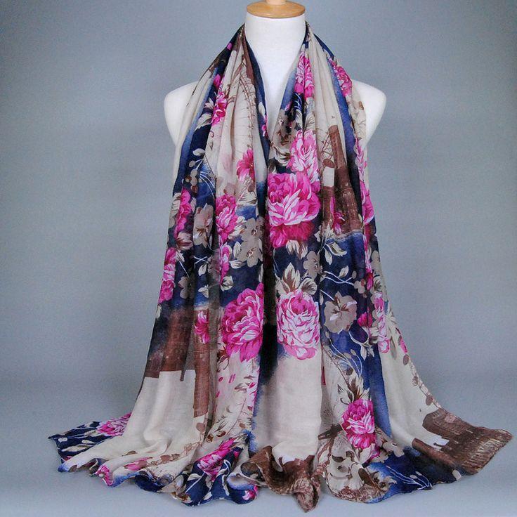 Wholesale printe ferris wheel floral fashion 100% viscose cotton voile long shawls muslim hijab wrap scarves/scarf 10pcs/lot