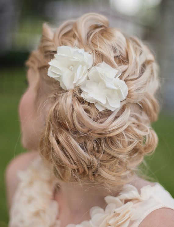 Bridal Silk Flowers Wedding Hair Flower Small Silk Flowers Ivory White Flower Hair Clip - Kaitlyn MADE TO ORDER via Etsy