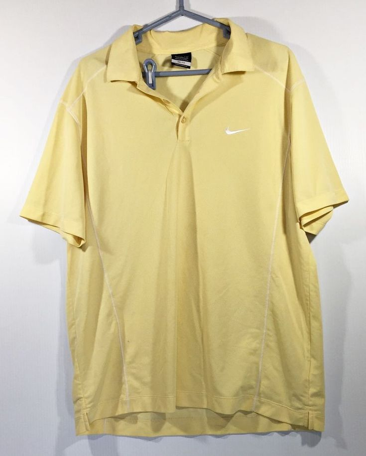 Nike Golf Mens XL  Dri-Fit Yellow Polo Shirt #NikeGolf #ShirtsTops