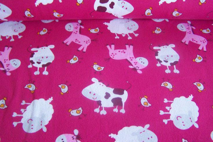 Bauernhof Farm Kuh Schaf Huhn Pferd rosa Jersey von Stoff-Zaubereien auf DaWanda.com