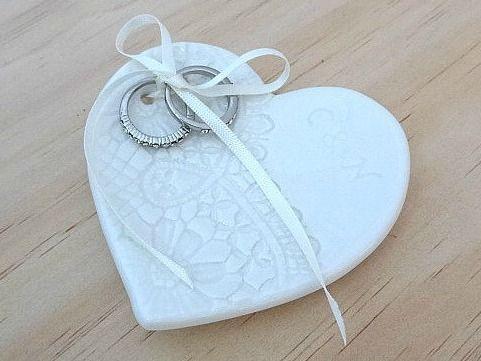 Hand engraved porcelain wedding ring dish. www.springwoodporcelain.etsy.com