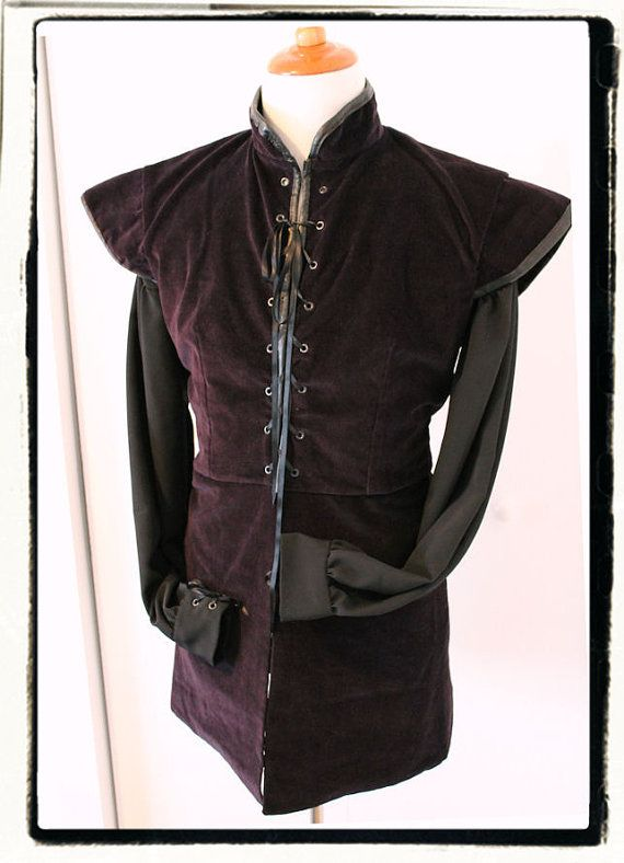 Deep Purple Winter Length Game of Thrones Tudor Renaissance Mens Lords Doublet Chest 46""
