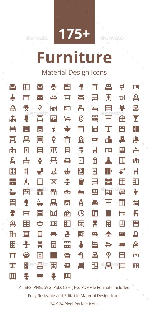175+ Furniture Material Design Icons. Download here: https://graphicriver.net/item/175-furniture-material-design-icons/17673918?ref=ksioks
