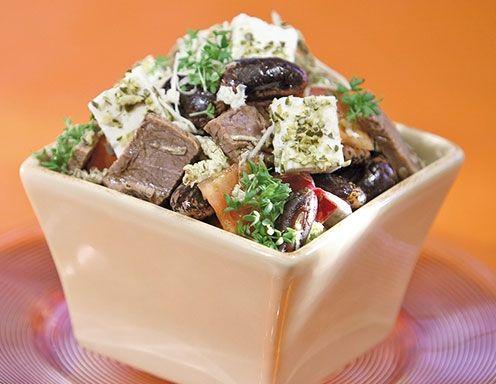 Käferbohnensalat mit Schafskäse