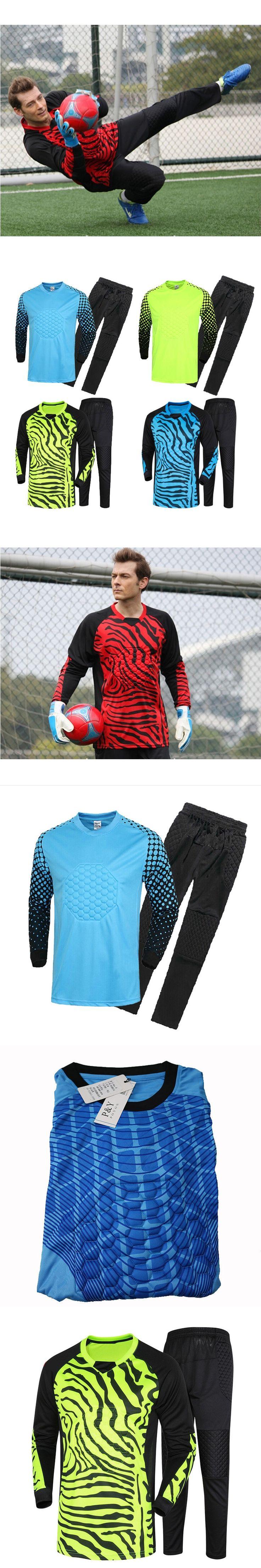 Men's Soccer Goalkeeper Jersey Set Sponge Protector Suit Camisetas De Futbol Jersey Kids Goal Keeper Uniforms