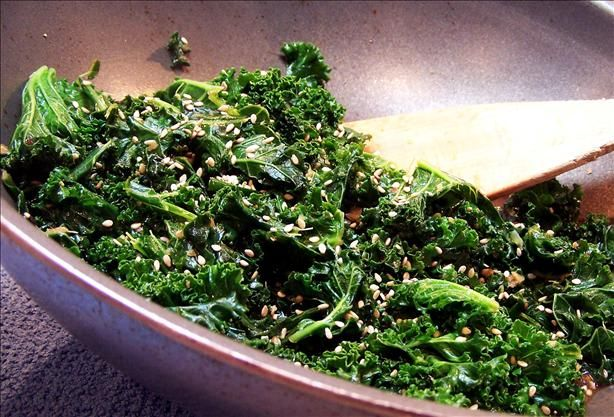 Kale and Ginger Stir Fry from Food.com:   								Ginger and soy sauce give this dish an Asian flair. You may substitute spinach or bok choy for the kale.
