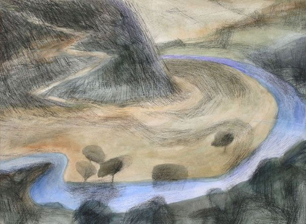 Tirlun Barddol - Amddiffynfa III Eleri Mills RCA Mixed media 2005 53 x 72 cm Bardic Landscape - Fortification III