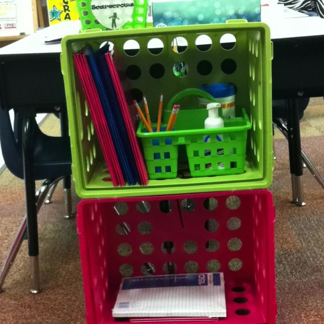 Zip tie crates to end of table groups to make an organizers