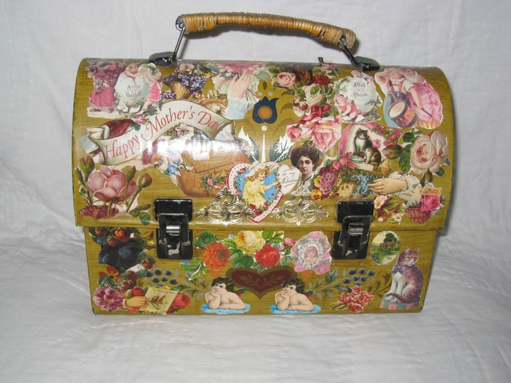 Vintage THANKS For The MEMORIES Decoupage Victorian Lunch Box Purse. $22.00, via Etsy.