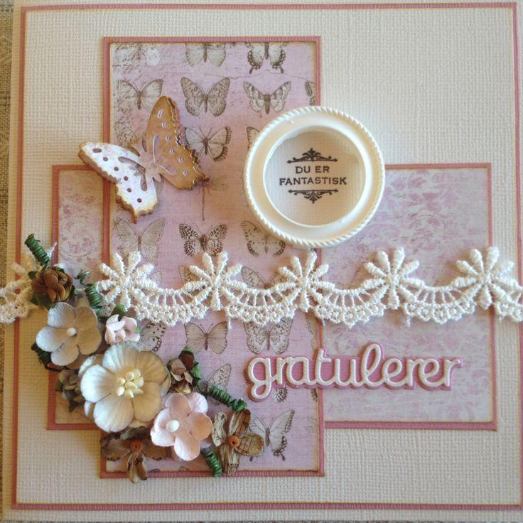Gratulasjonskort laga med ark frå MajaDesign. Blonde, ramme og stempel frå KortogGodt, blomster frå Papirdesign.