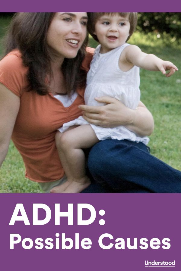 Genes and heredity. Differences in brain development and brain chemistry. Traumatic brain injuries and epilepsy may cause ADHD symptoms. Prenatal exposure to smoke or high levels of lead under age 5.
