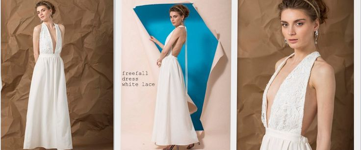 Wedding gown TheKNLs lace minimal handmade maxi dress backless offwhite Freefall ss16 bew collection lookbook photoshoot cataloque