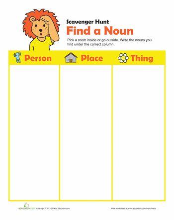 noun search for my girls nouns worksheet worksheets grammar. Black Bedroom Furniture Sets. Home Design Ideas