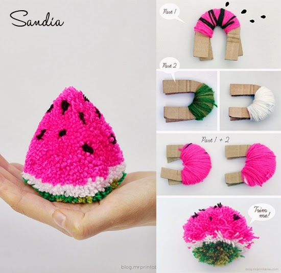 Strawberry pompom . DIY