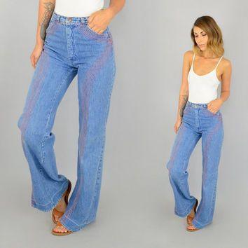 70's TURTLE BAX High Waist wide leg hippy bohemian BELLBOTTOM flared denim  jeans, extra small