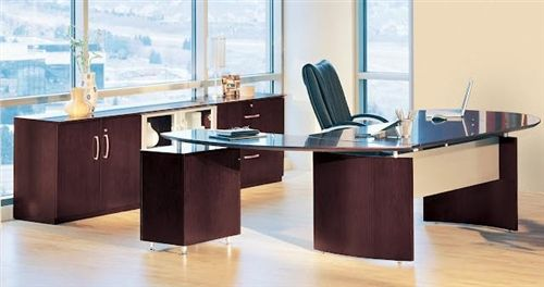 This stylish executive office offers the perfect blend of wood, metal, and glass to form a totally unique look. The Napoli series desk configuration showcased here is for sale at OfficeAnything.com with free shipping. #OfficeDesks #LuxuryOfficeInteriors