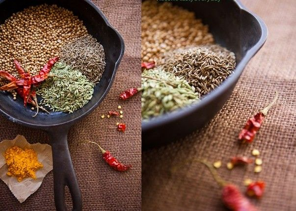 The mixture of spices for curry.