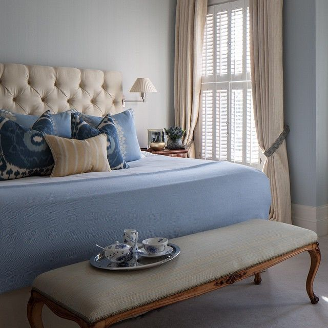 Blissful and blue in the bedroom of our Fulham Family House Project. #ameliacarterinteriors #bedroom #bed #ottoman #bench #wall #light #blue #shutters #curtains #tray #cushion #headboard #traditional #house #home #accessories #style #design #interiors #fulham #london