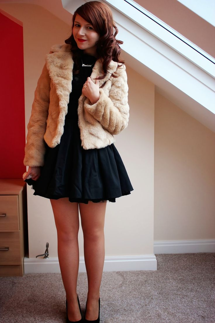 One Dress Three Ways Black Dress Fur Jacket Black Heels