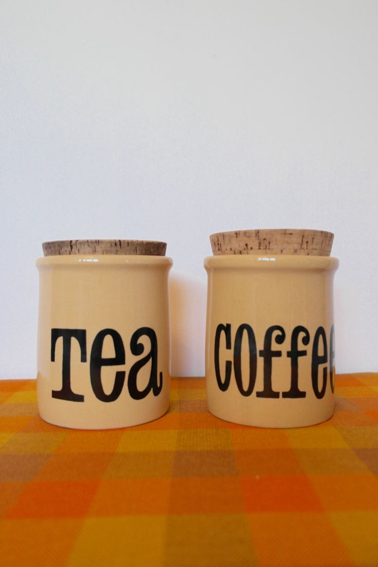 Vintage 1970s Tea and Coffee Canisters by T.G Green Ltd - Retro Ceramic Kitchenalia - pinned by pin4etsy.com