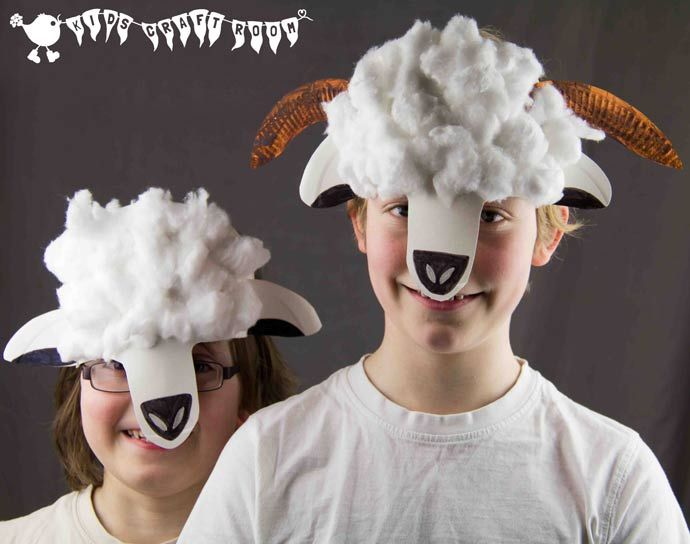 Make a paper plate lamb or sheep mask. A great animal craft for kids to promote imaginative play