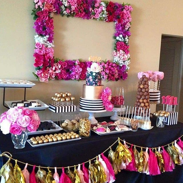 Kate Spade inspired dessert table #blackandwhite #hotpink #gold #katespadetheme #desserts #desserttable #flowers #mydolcebakery