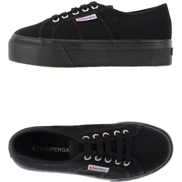 Superga Sneakers ($75) ❤ liked on Polyvore featuring shoes, sneakers, black, superga sneakers, black shoes, black wedge trainers, wedge heel sneakers and rubber sole shoes