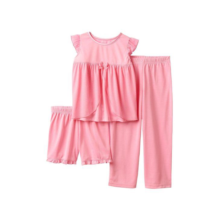 Girls 4-12 Glitter Mesh Top, Shorts & Pants Dress-Up Pajama Set, Size: 10, Pink