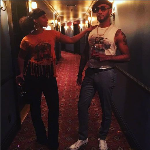 Swizz and Alicia do date night 70s style. | Beyonce's Soul Train Bash