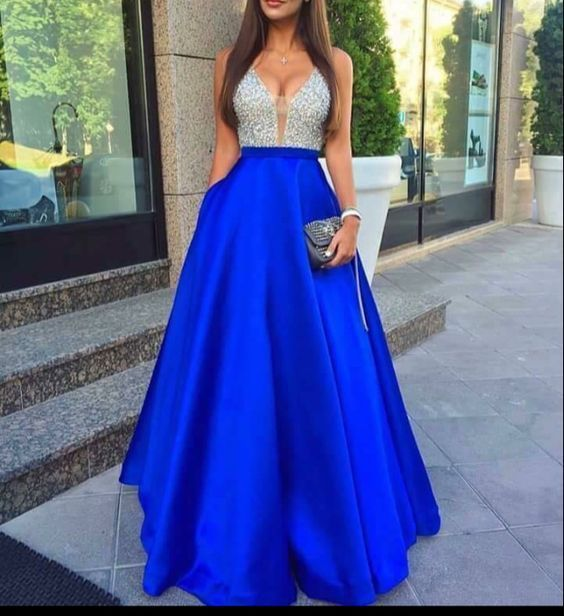 Gorgeous A-line Beading Prom Dress,charming long Evening Dress,2017 Evening Gowns,formal royal blue Evening Dress, FS8520