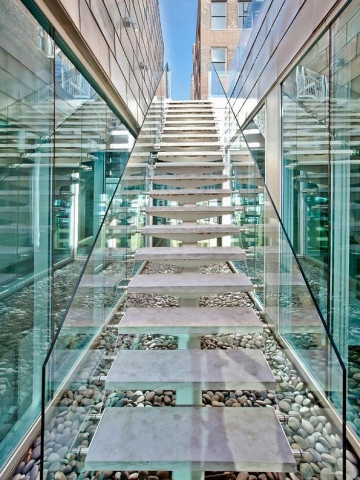 I love the effect created by reflection of stairs on glass. Oh yeah, and so want to live here - Alica Key's Soho Penthouse for Sale...