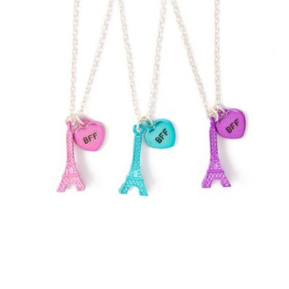 Best Friends Forever Metallic Eiffel Tower Pendant Necklaces Set of 3 i could this for my bffs and i
