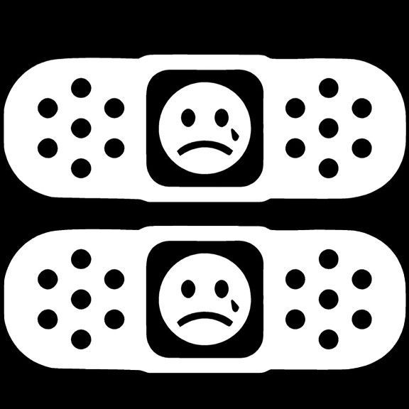 2 x Band Aid Decal Tear Drop Face Pair JDM Import Tuner Car Truck Sticker Funny