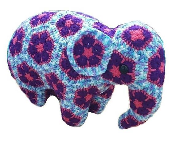Purple  Pink  White  Crochet Elephant
