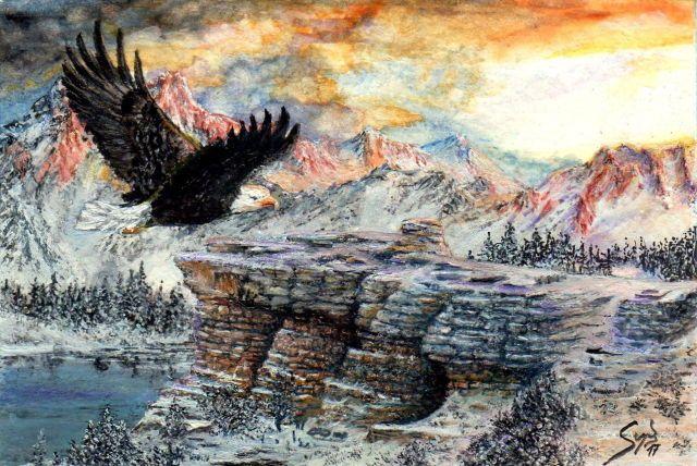 American eagle flying home