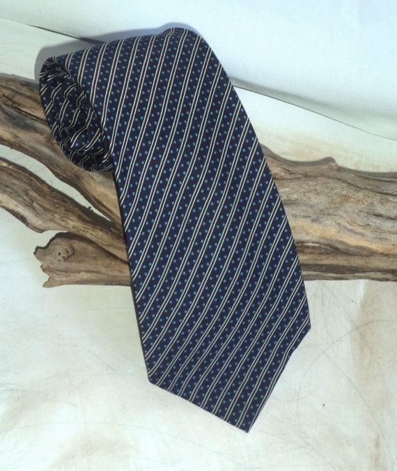 Aquascutum London Necktie Luxury Blue Stripes by MushkaVintage3